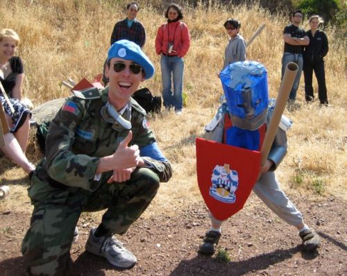 Commander EDW Lynch attempts to pacify a child soldier, Cardboard Tube Fight intervention 2008